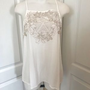 Eyeshadow Ivory Embroidered Floral Tank NWT